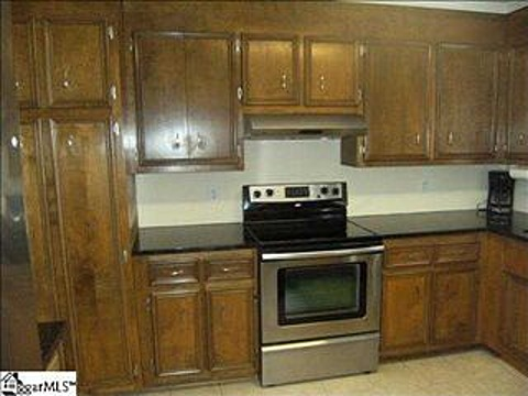 Cabinets and stove